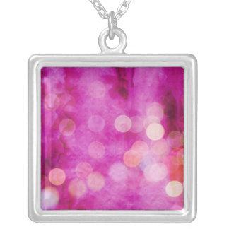 Distressed Hot Pink Fuchsia Bokeh Lights Pendant