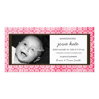 Distressed Hot Pink Lacy Blooms Birth Announcement Personalised Photo Card