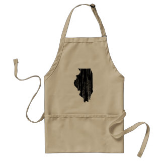 Distressed Illinois State Outline Aprons