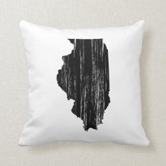 Distressed Illinois State Outline Cushion