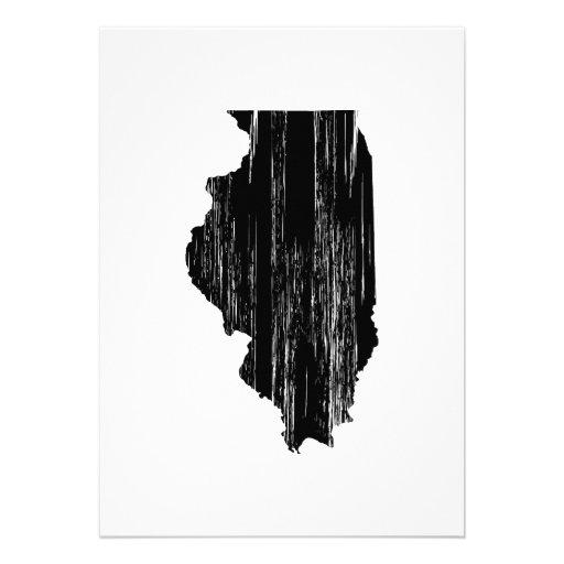 Distressed Illinois State Outline Custom Invitations