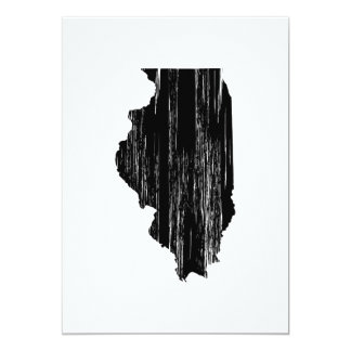 "Distressed Illinois State Outline 5"" X 7"" Invitation Card"
