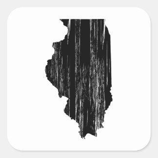 Distressed Illinois State Outline Square Sticker