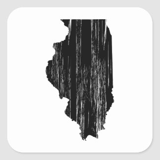 Distressed Illinois State Outline Square Stickers