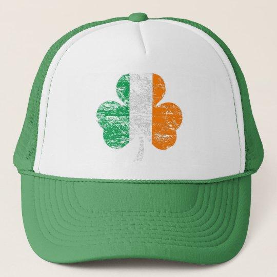 Distressed Irish Flag Shamrock Trucker Hat