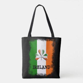 Distressed Irish Flag Tri Colors Themed Shamrock Tote Bag