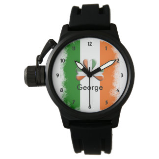 Distressed Irish Tri Colors Shamrock Personalized Watch