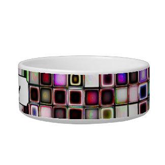 Distressed Jewel Tones Textured Tiles Pattern Cat Water Bowls