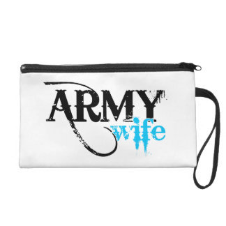 Distressed Lettering Army Wife Wristlet