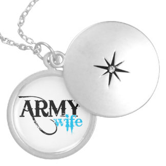 Distressed Lettering Army Wife Round Locket Necklace