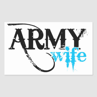 Distressed Lettering Army Wife Rectangular Sticker