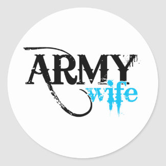 Distressed Lettering Army Wife Round Sticker