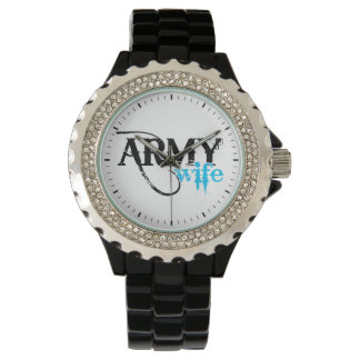 Distressed Lettering Army Wife Wristwatches