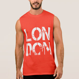 Distressed London With famous landmarks Silhouette Sleeveless Shirts