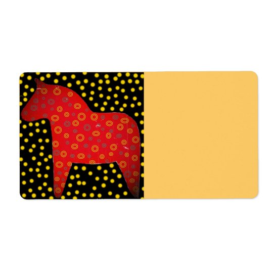 Distressed Look Dala Horse Shipping Label