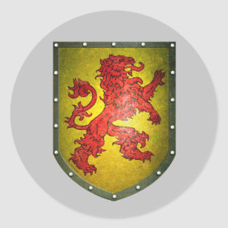 Distressed Look Red Lion Yellow Shield Round Sticker