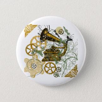 Distressed Look Steampunk Design 6 Cm Round Badge