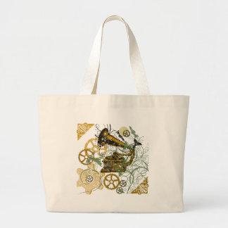 Distressed Look Steampunk Design Large Tote Bag