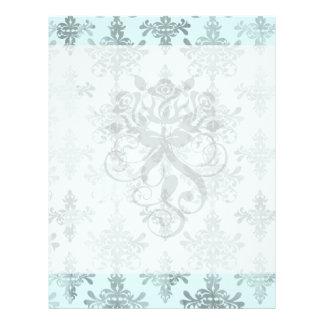 distressed lovely soft blue damask full color flyer