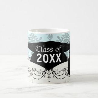 distressed lovely soft blue damask mug