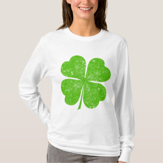Distressed Lucky Four Leaf Clover T-Shirt