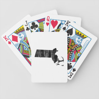 Distressed Massachusetts State Outline Bicycle Playing Cards