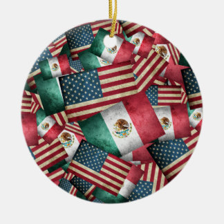 Distressed Mexican/American Flags  - US & Mexican Christmas Ornament