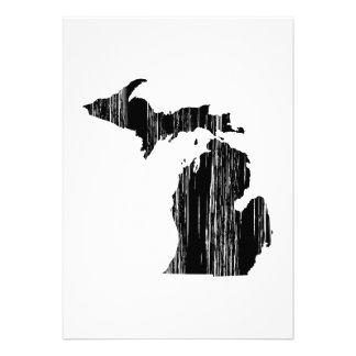 Distressed Michigan State Outline Custom Invitations