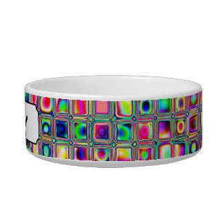 Distressed Multicolored Glass Tiles Pattern Pet Water Bowls