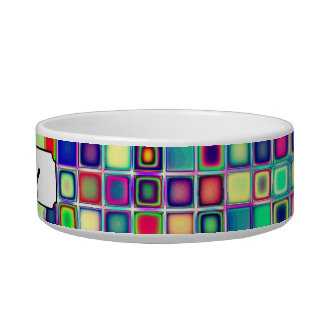 Distressed Multicolored 'Gumdrops' Tiles Pattern Cat Water Bowl