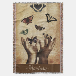 Distressed Natural Butterfly Pattern Throw Blanket