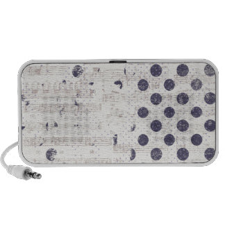DISTRESSED NAVY POLKADOTS MUSIC NOTES SONGS GRUNGE TRAVELLING SPEAKER