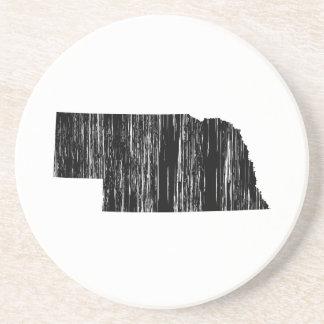 Distressed Nebraska State Outline Coaster