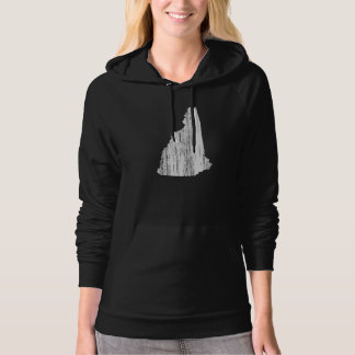 Distressed New Hampshire State Outline Hooded Pullovers