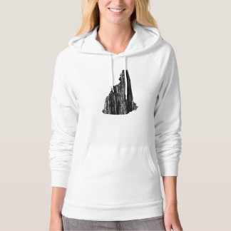 Distressed New Hampshire State Outline Hooded Sweatshirt