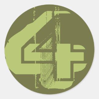 Distressed Number 4 Round Sticker