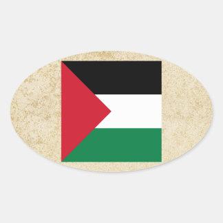 Distressed Palestine Flag Oval Sticker
