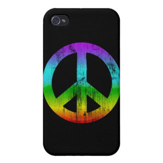 Distressed peace-rainbow covers for iPhone 4