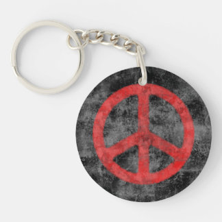 Distressed Peace Sign Single-Sided Round Acrylic Key Ring