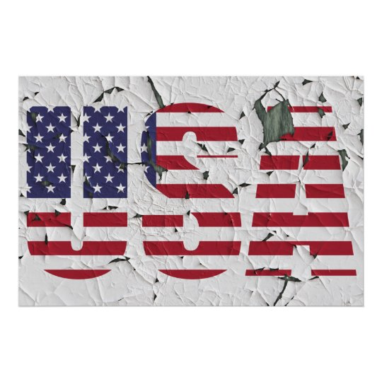 Distressed Peeling Paint USA American Photo Poster