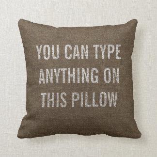 Distressed Personalized Dark Burlap Cushion