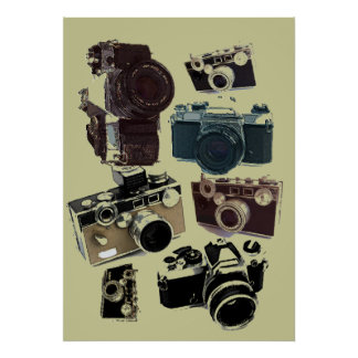 distressed photographer photography retro Camera Poster