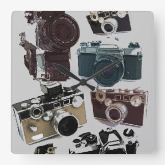 distressed photographer photography retro Camera Square Wall Clock