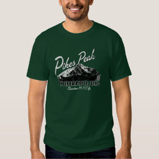Distressed Pikes Peak Colorado Design Tee Shirt