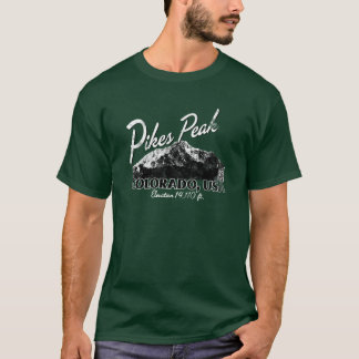 Distressed Pikes Peak Colorado Design Tee Shirt