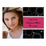 Distressed pink graduation party announcement post cards