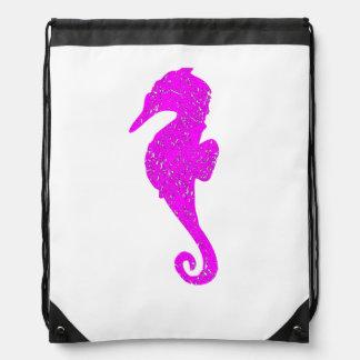 Distressed Pink Seahorse Drawstring Bags
