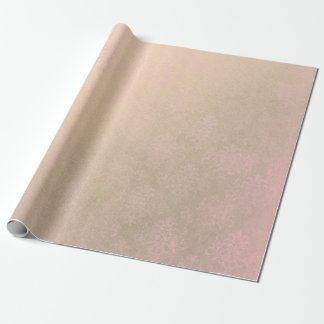 Distressed Pink Shabby Damask  Rose Blush Gold Wrapping Paper