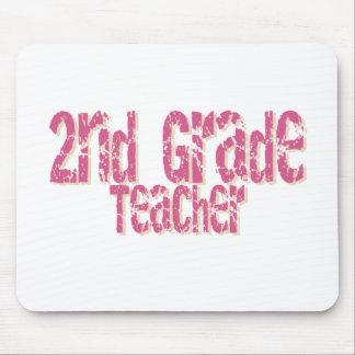 Distressed Pink Text 2nd Grade Teacher Mouse Mats
