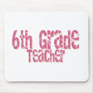 Distressed Pink Text 6th Grade Teacher Mouse Mat